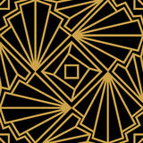 Abstract vector seamless Art Deco pattern with stylized shell. Golden ornament on black background Stock Photos