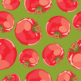 Abstract vector seamless background of tomatoes. Royalty Free Stock Photo