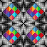 Abstract vector seamless moire pattern with cubic lattice lines. Colorful graphic black and white ornament vector illustration