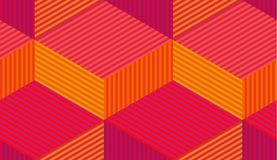 Abstract vector seamless moire pattern with cubic lattice lines. Colorful graphic ornament. Striped repeating texture stock illustration