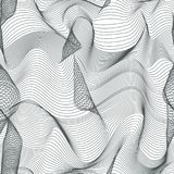 Abstract vector seamless moire pattern with lines. Monochrome graphic black and white ornament. Stock Photography