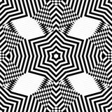 Abstract vector seamless moire pattern with waving circle lines. Monochrome op art, graphic with color points. Stock Photo