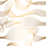 Abstract vector seamless moire pattern with waving curling lines. Golden and white ornament. Stock Images