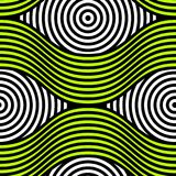 Abstract vector seamless op art pattern. Colorful disko ornament.  Stock Photo
