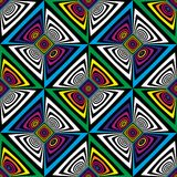 Abstract vector seamless op art pattern. Colorful pop art, graphic ornament. Optical illusion. Abstract vector seamless op art pattern. Colorful pop art Royalty Free Stock Photo