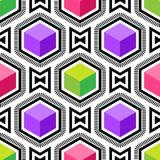 Abstract vector seamless op art pattern. Colorful pop art, graphic ornament. Optical illusion.  stock illustration
