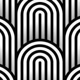 Abstract vector seamless op art pattern. Monochrome graphic black and white ornament. Striped optical illusion repeating texture. Abstract vector seamless op royalty free illustration
