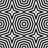 Abstract vector seamless op art pattern. Monochrome graphic black and white ornament. Striped optical illusion repeating texture Stock Image