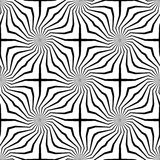 Abstract vector seamless op art pattern. Monochrome graphic black and white ornament. Striped optical illusion repeating texture Stock Photos