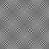 Abstract vector seamless op art pattern. Monochrome graphic black and white ornament. Striped optical illusion repeating texture Stock Photography