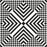 Abstract vector seamless op art pattern. Monochrome graphic black and white ornament. Striped optical illusion. Repeating texture Stock Image