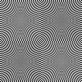 Abstract vector seamless op art pattern. Monochrome graphic ornament.  royalty free illustration