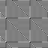 Abstract vector seamless op art pattern. Monochrome graphic ornament. Stock Photography