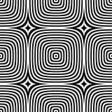 Abstract vector seamless op art pattern. Monochrome graphic ornament.  Royalty Free Stock Images