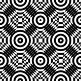 Abstract vector seamless op art pattern. Monochrome plop art graphic ornament. Optical illusion Royalty Free Stock Image