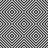 Abstract vector seamless op art pattern with rhombus. Monochrome graphic black and white ornament. Striped optical illusion. Abstract vector seamless op art Royalty Free Stock Photo