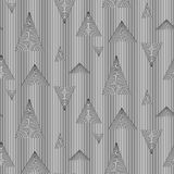 Abstract vector seamless op art pattern of triangles. Black and white moire ornament Royalty Free Stock Photos