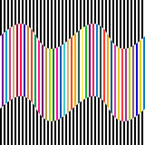 Abstract vector seamless op art pattern with waving lines. Colorful graphic ornament Royalty Free Stock Images