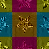 Abstract vector seamless op art star pattern. Colorful pop art, graphic ornament. Optical illusion Royalty Free Stock Photos