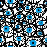 Abstract vector seamless pattern with blue eyes. Vector seamless pattern with blue eyes. Hand drawn abstract background vector illustration