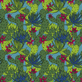 Abstract vector seamless pattern with cactus Royalty Free Stock Photography