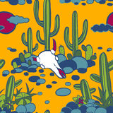 Abstract vector seamless pattern with cactuses and cow skull Royalty Free Stock Images