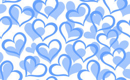 Abstract vector seamless pattern with decorative blue hearts Stock Images