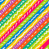 Abstract vector seamless pattern. Diagonal striped colorful graphic ornament. Royalty Free Stock Images