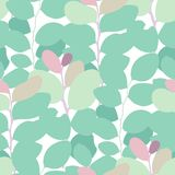 Abstract vector seamless pattern of exotic leaves in vivid colors. royalty free illustration