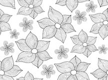 Abstract vector seamless pattern with figured flowers Stock Photos