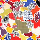 Abstract vector seamless pattern. With floral elements Stock Image