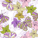 Abstract vector seamless pattern with flowers and butterflies Royalty Free Stock Photo