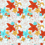 Abstract vector seamless pattern with flowers Royalty Free Stock Photos