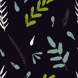 Abstract vector seamless pattern with flowers and leaves Royalty Free Stock Image