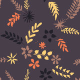 Abstract vector seamless pattern with flowers and leaves Stock Images