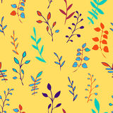 Abstract vector seamless pattern with leaves. Autumn twigs, hand drawn vector background Royalty Free Stock Photo