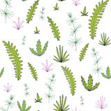 Abstract vector seamless pattern with leaves and plants Stock Images