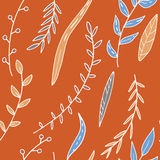 Abstract vector seamless pattern with leaves and plants Stock Photos