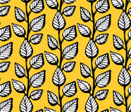 Abstract vector seamless pattern with leaves on yellow background. Background with flowers grunge texture Royalty Free Stock Photo