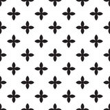 Abstract vector seamless pattern mosaic of black four leaf blooms in diagonal arrangement on white background. Simple. Flat natural design wallpaper Stock Image