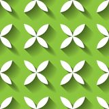Abstract vector seamless pattern mosaic of white four leaf blooms in diagonal arrangement on green background. Simple. Flat desidn elements with long shadow Stock Image