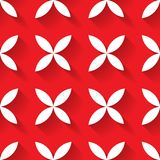 Abstract vector seamless pattern mosaic of white four leaf blooms in diagonal arrangement on red background. Simple flat. Desidn elements with long shadow Royalty Free Stock Photography