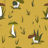Abstract vector seamless pattern with mushrooms and plants Royalty Free Stock Images