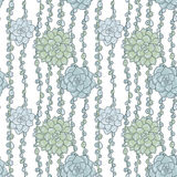 Abstract vector seamless pattern with succulentes Stock Photos
