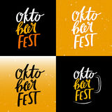 Set of Funny Colorful Oktoberfest Banners. Vector Hand Drawn Lettering. Bright Background Concept with Beer Stock Photo