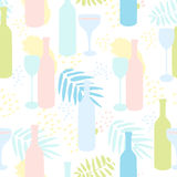 Abstract vector seamless pattern with wine bottles and glasses. Pastel colors. Tropical leaves and abstract spots Royalty Free Stock Photos