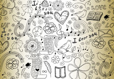Abstract vector seamless pattern with words of love, books, music notes, flowers and hearts, handwritten on the old paper Stock Photos
