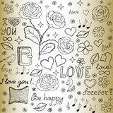 Abstract vector seamless pattern with the words of love, roses, books, flowers and hearts Royalty Free Stock Images