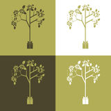 Abstract vector set of ecological symbol illustrations. Vector set of ecological symbol - gift tree Royalty Free Stock Photo