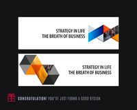 Abstract vector set of horizontal website banners with colourful triangles abstract shapes for web design. Royalty Free Stock Photo